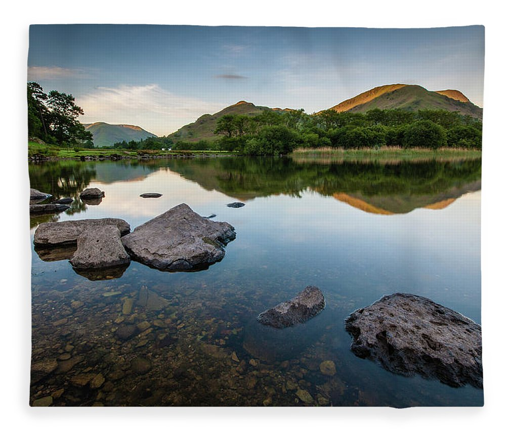 Lake District Fleece Blanket featuring the photograph Sunrise at Ullswater, Lake District, North West England by Anthony Lawlor