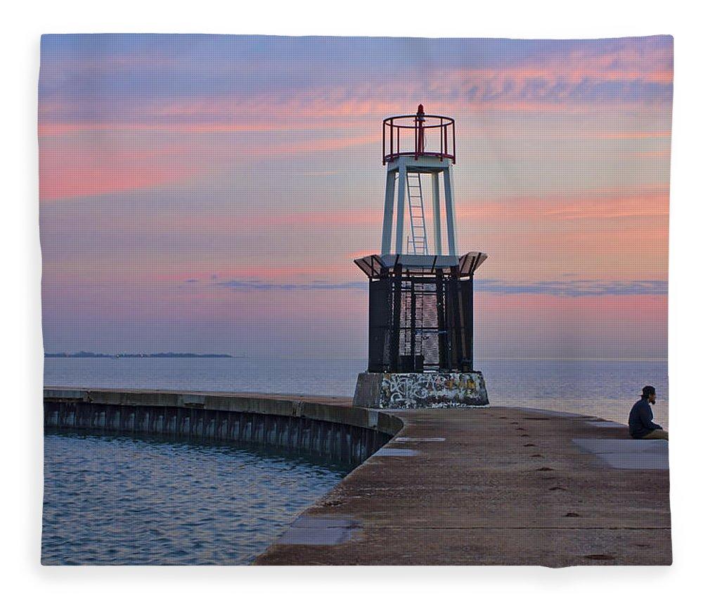 Dawn Fleece Blanket featuring the photograph Sunrise - Hook Pier Lighthouse - Chicago by Nikolyn McDonald