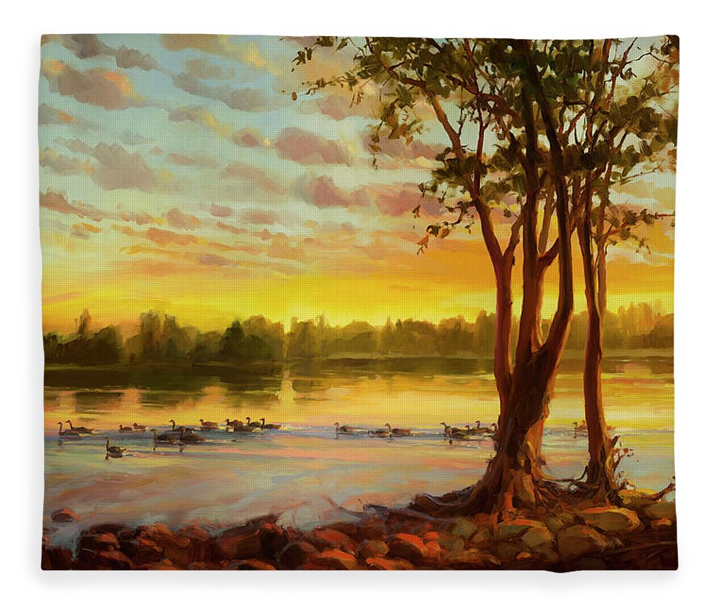Landscape Fleece Blanket featuring the painting Sunrise On The Columbia by Steve Henderson