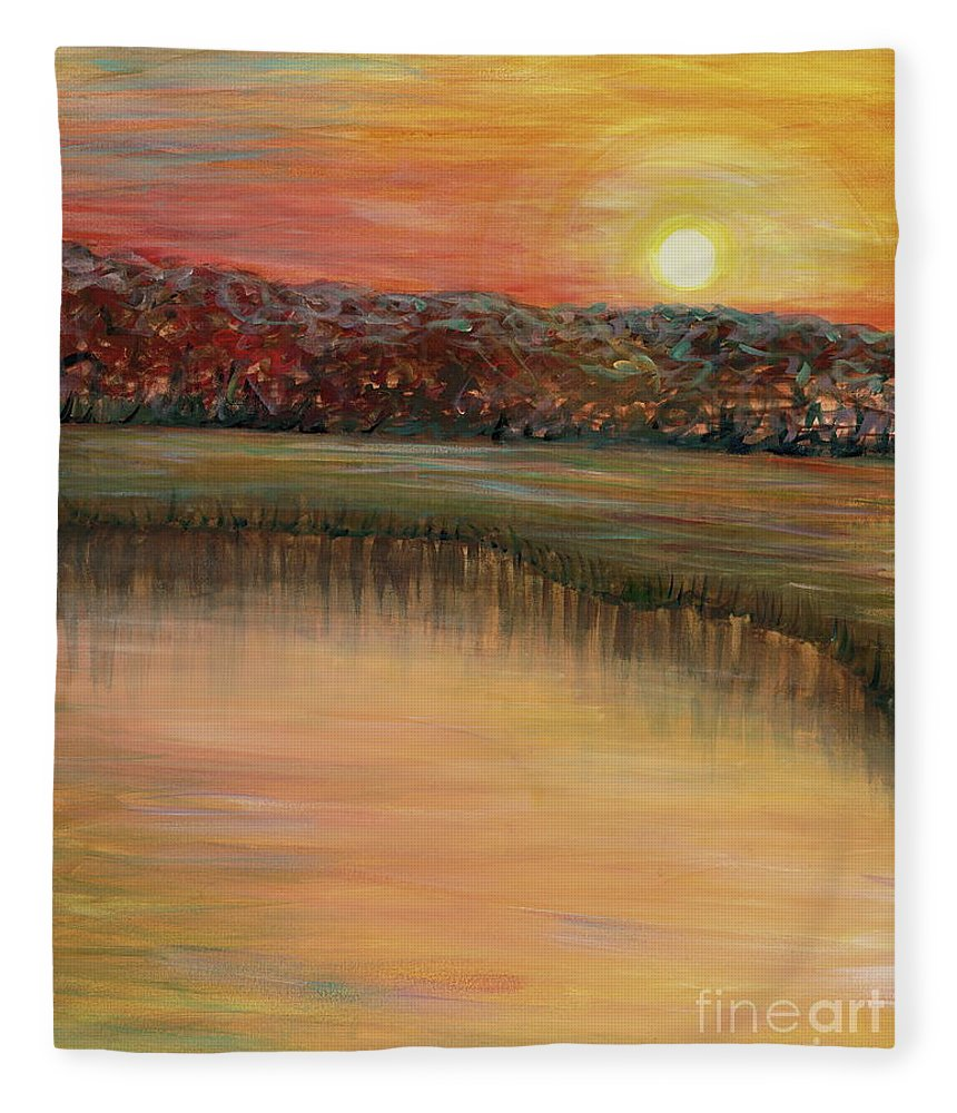 Sunrise Fleece Blanket featuring the painting Sunrise Over the Marsh by Nadine Rippelmeyer