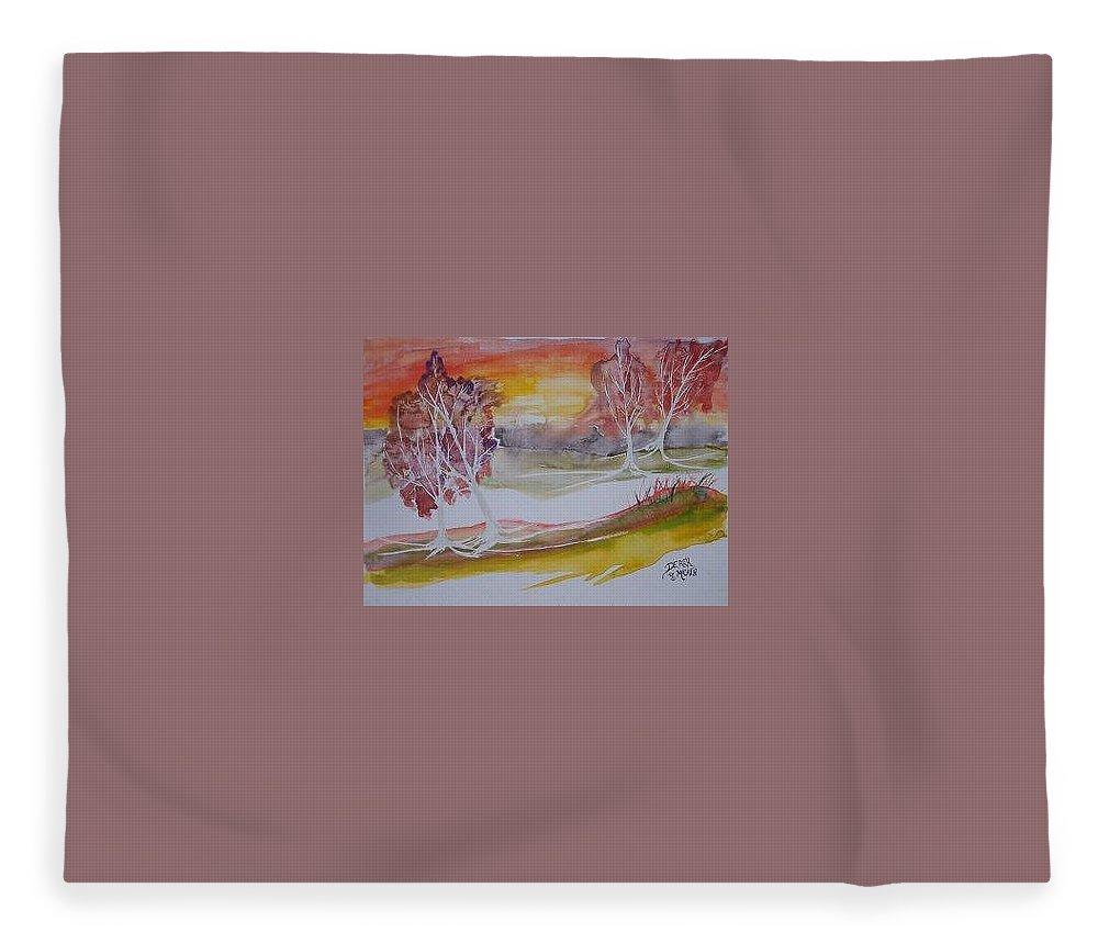 Impressionistic Fleece Blanket featuring the painting SUNRISE surreal modern landscape painting fine art poster print by Derek Mccrea