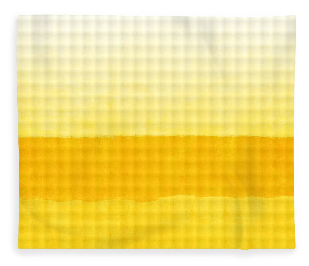 Abstract Fleece Blanket featuring the painting Sunrise- Yellow Abstract Art by Linda Woods by Linda Woods
