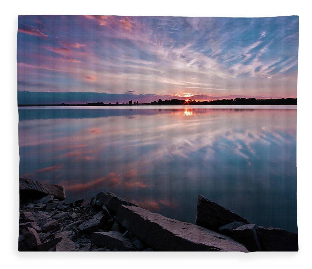Sunrise Fleece Blanket featuring the photograph Sunset at Anglezarke Reservoir #1, Rivington, Lancashire, North West England by Anthony Lawlor