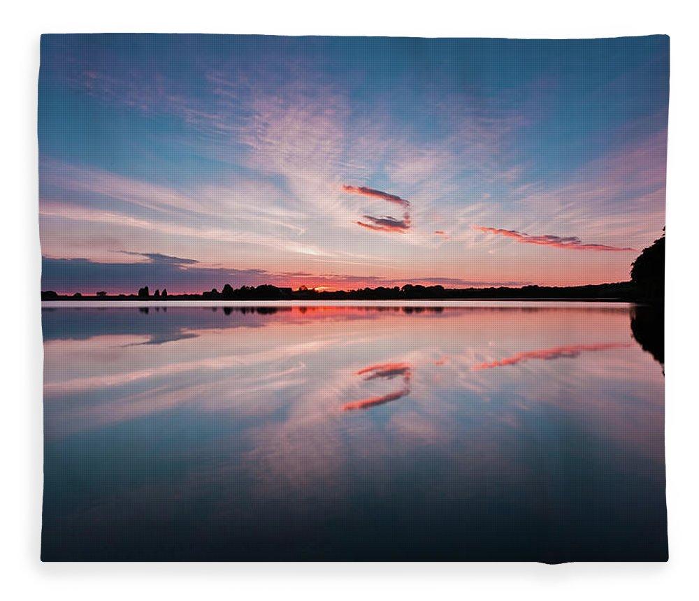 Sunrise Fleece Blanket featuring the photograph Sunset at Anglezarke Reservoir #3, Rivington, Lancashire, North West England by Anthony Lawlor