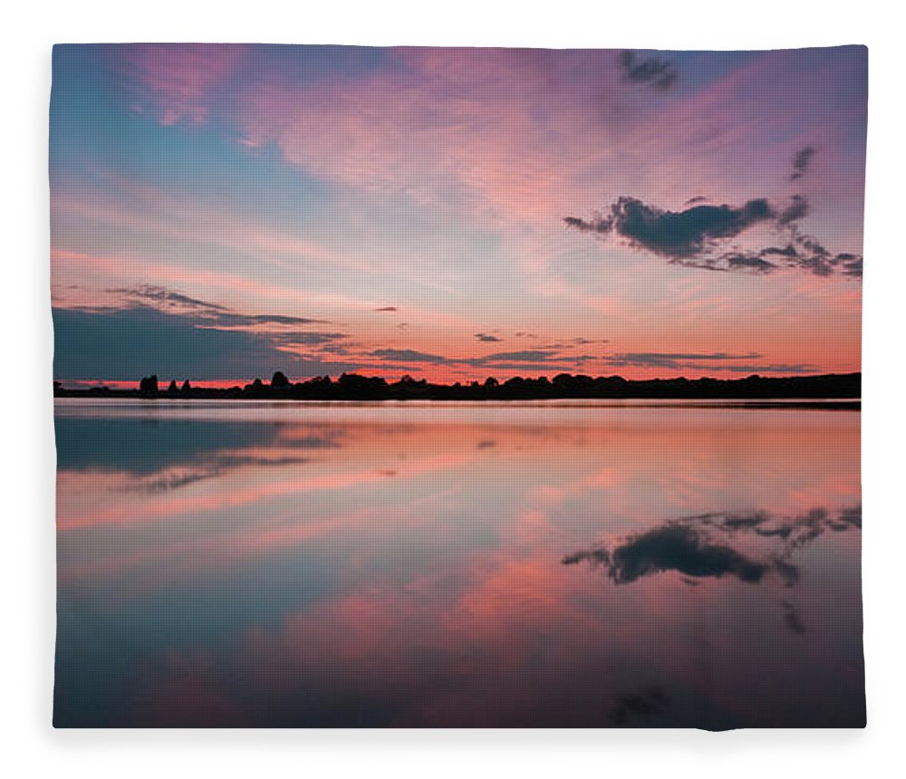 Sunrise Fleece Blanket featuring the photograph Sunset at Anglezarke Reservoir #4, Rivington, Lancashire, North West England by Anthony Lawlor