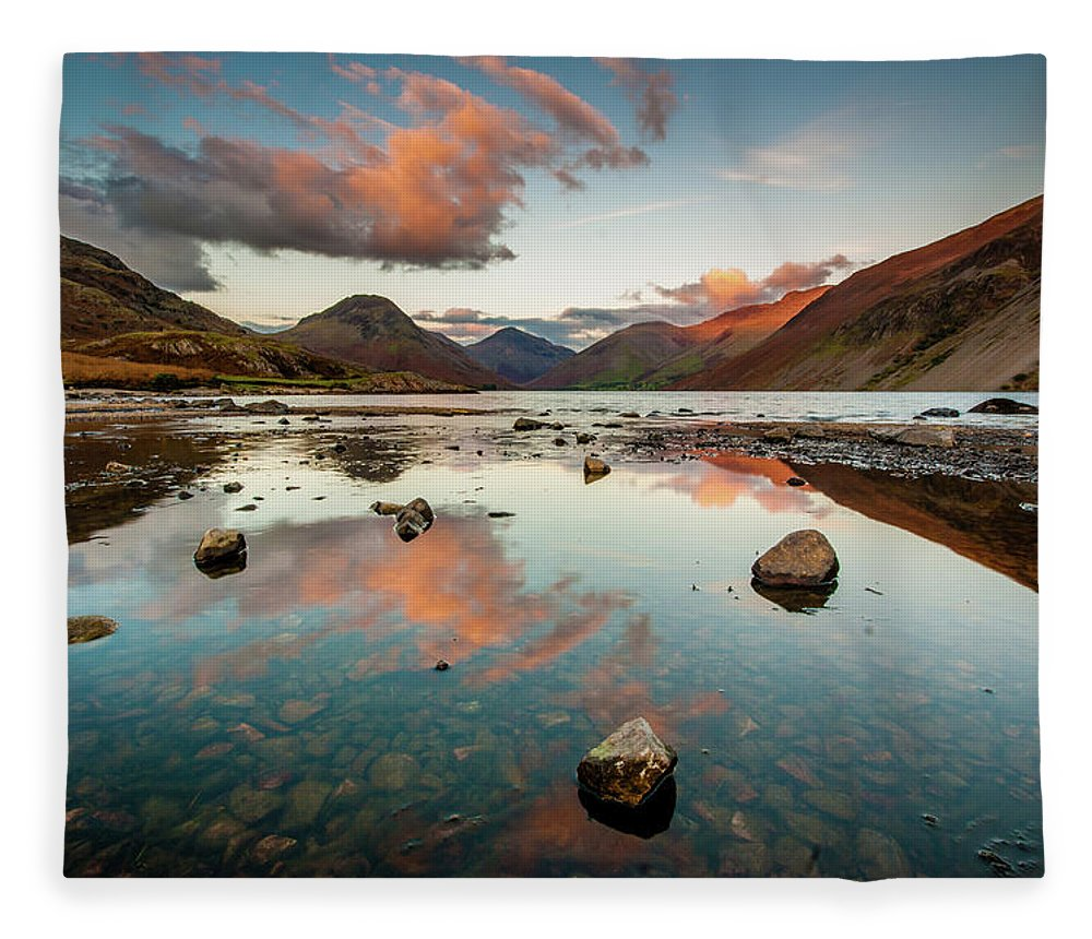 Sunrise Fleece Blanket featuring the photograph Sunset at Wast Water #1, Wasdale, Lake District, England by Anthony Lawlor