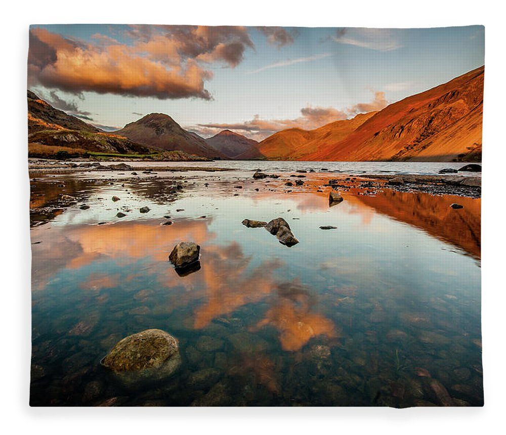 Sunrise Fleece Blanket featuring the photograph Sunset at Wast Water #2, Wasdale, Lake District, England by Anthony Lawlor