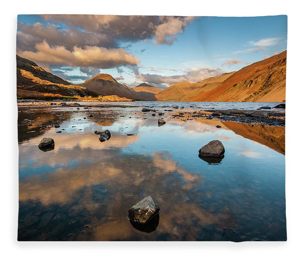 Sunrise Fleece Blanket featuring the photograph Sunset at Wast Water #3, Wasdale, Lake District, England by Anthony Lawlor