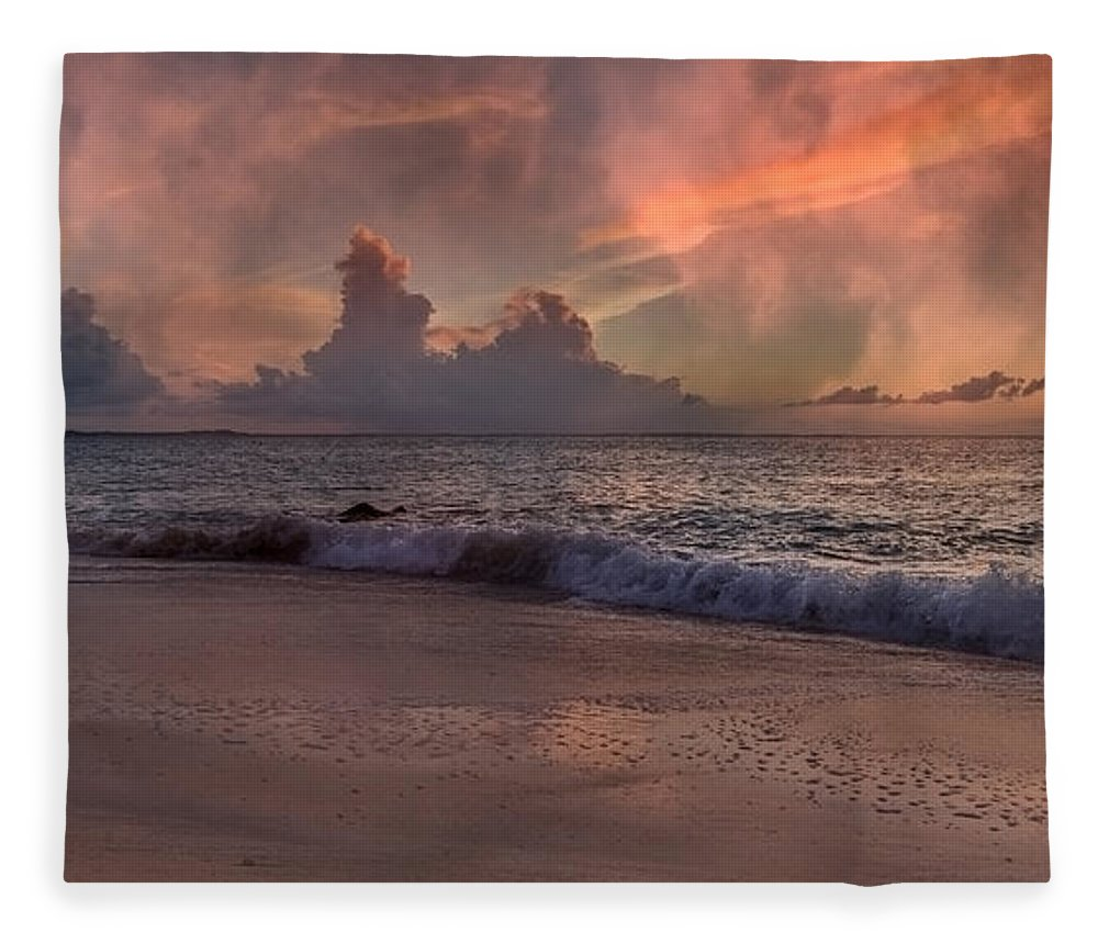 Beach Fleece Blanket featuring the photograph Sunset Movie by Betsy Knapp