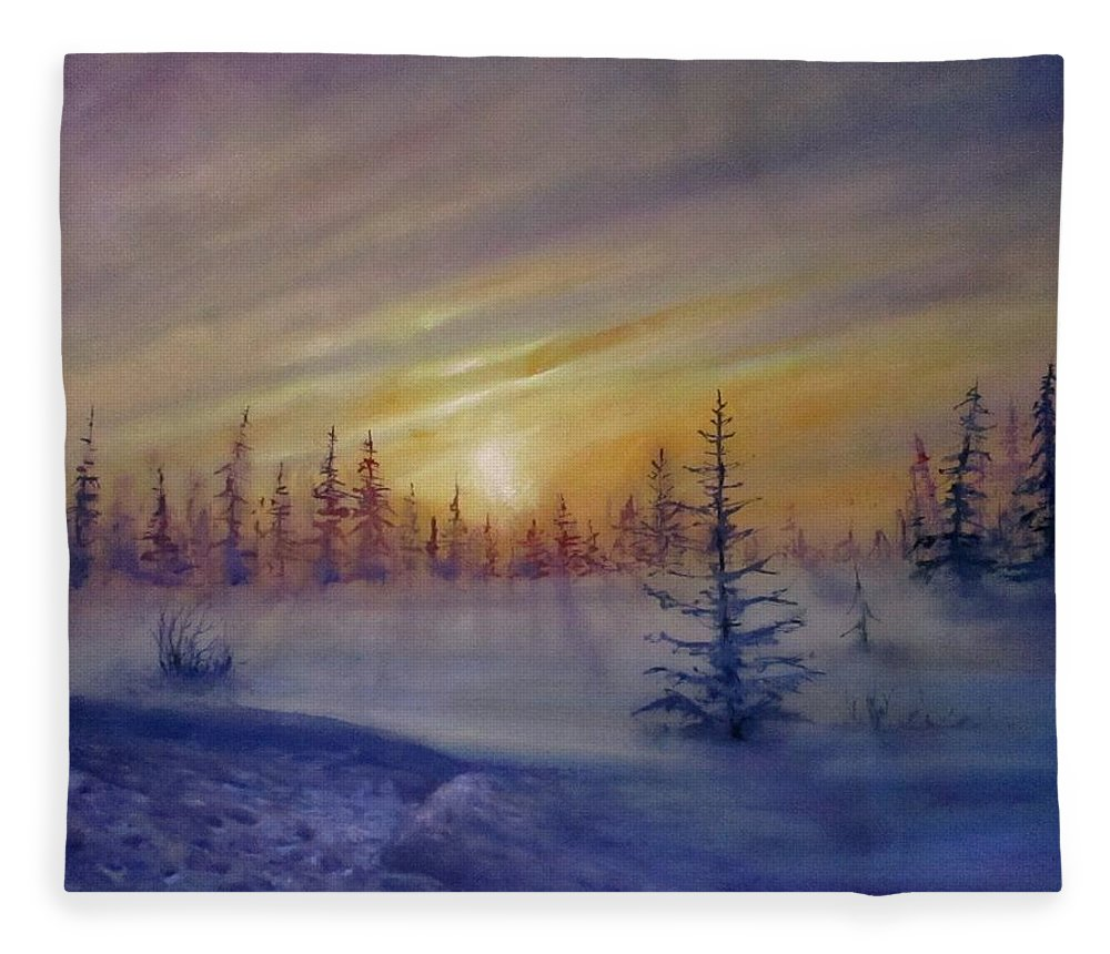 Winter Fleece Blanket featuring the painting Sunset by Natalja Picugina