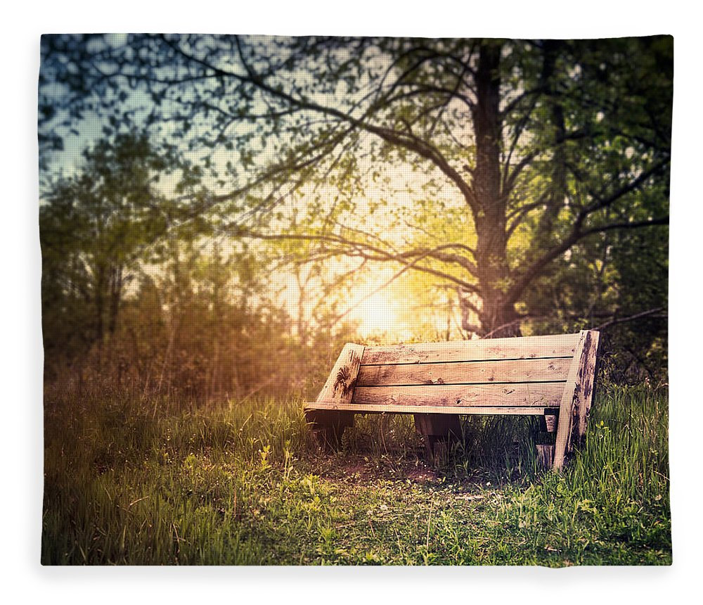 Landscape Fleece Blanket featuring the photograph Sunset On A Wooden Bench by Scott Norris