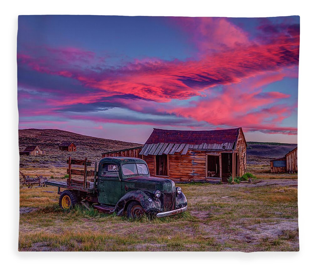 Sunset Fleece Blanket featuring the photograph Sunset Over Bodie's Green Truck by Jeff Sullivan