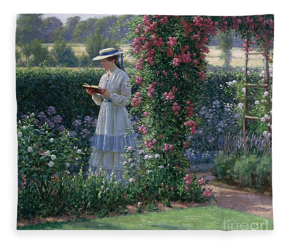 Garden; Reading; Book; Woman; Lawn; Flower;rose; Bed; Hedge; Climbing; Arch; Path Fleece Blanket featuring the painting Sweet Solitude by Edmund Blair Leighton
