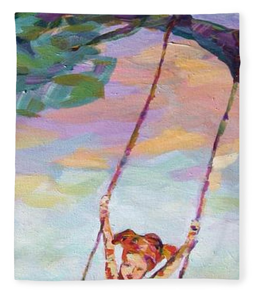 Child Swinging Fleece Blanket featuring the painting Swinging With Sunset Energy by Naomi Gerrard