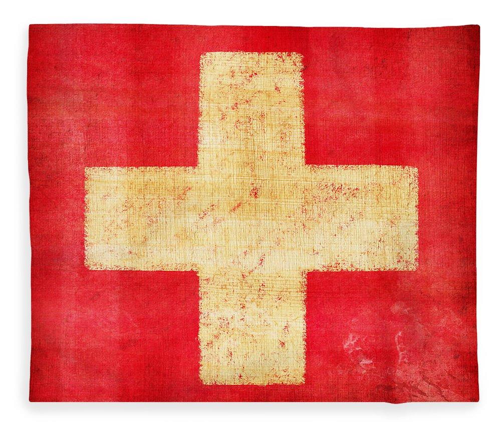 Abstract Fleece Blanket featuring the photograph Switzerland flag by Setsiri Silapasuwanchai