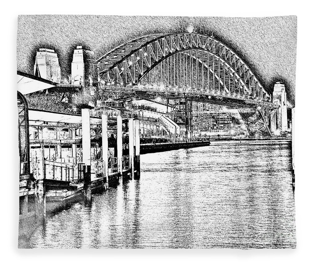 Photography fleece blanket featuring the photograph sydney harbour bridge pencil sketch 2 by kaye menner by