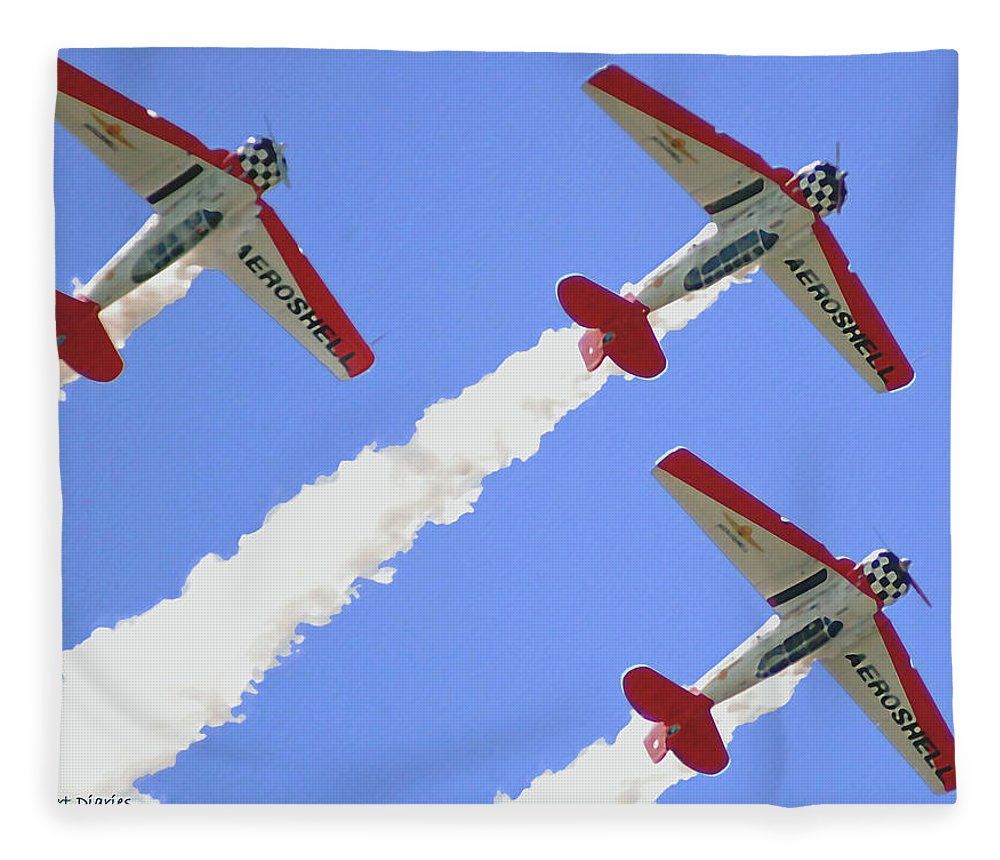 T6 Fleece Blanket featuring the digital art T6 Aerobatics by DigiArt Diaries by Vicky B Fuller