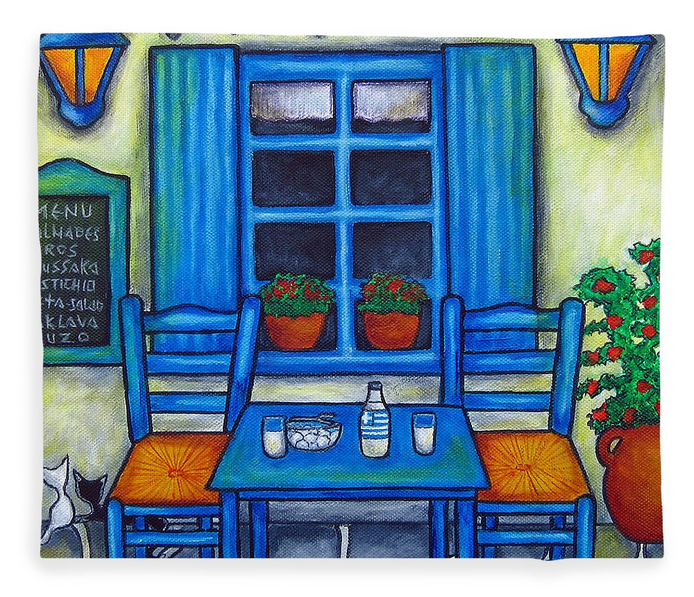 Blues Fleece Blanket featuring the painting Table for Two in Greece by Lisa Lorenz