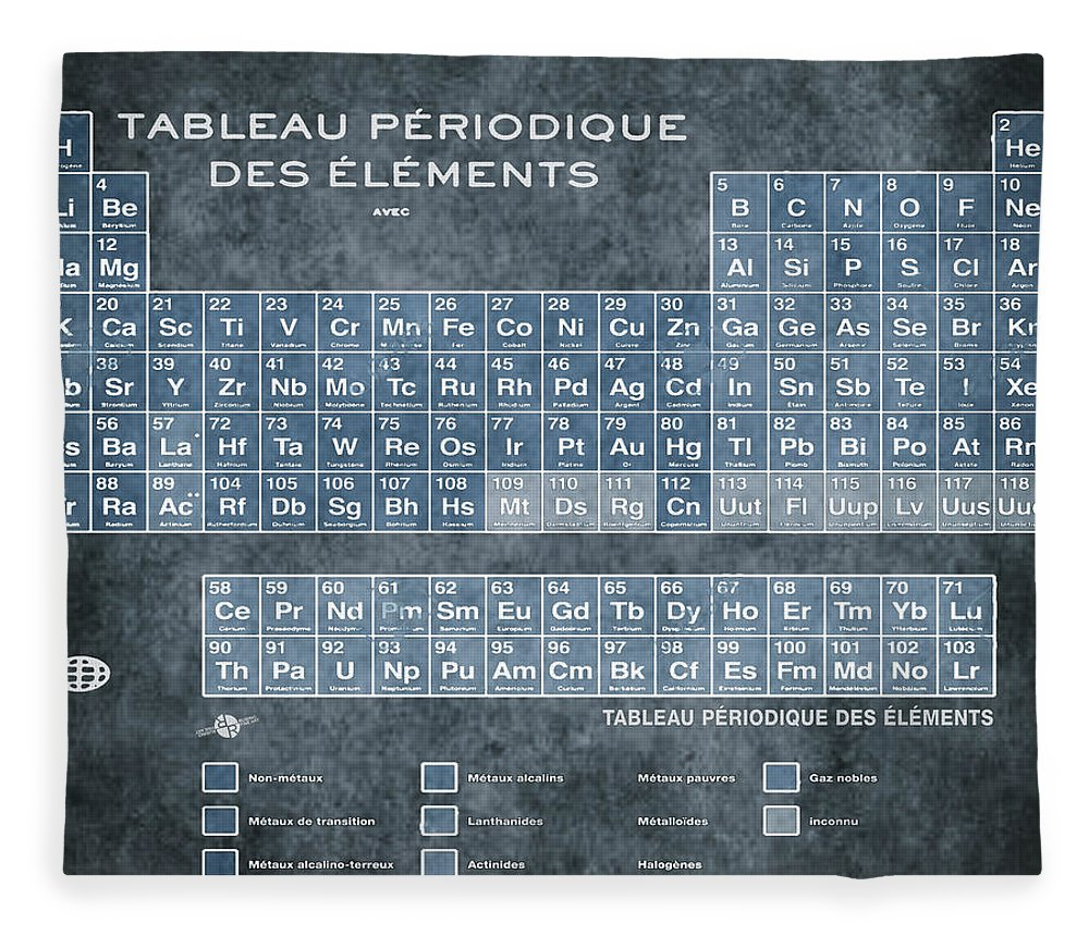 Tableau periodiques periodic table of the elements vintage chart periodic table of the elements vintage chart on worn stained distressed canvas fleece blanket featuring the urtaz Choice Image