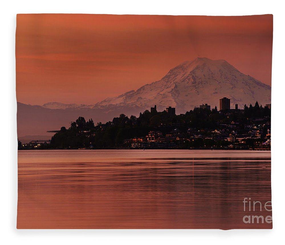 Rainier Fleece Blanket featuring the photograph Tacoma Bay Mount Rainier Sunrise by Mike Reid