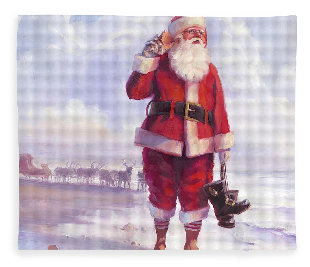 Christmas Fleece Blanket featuring the painting Taking a Break by Steve Henderson