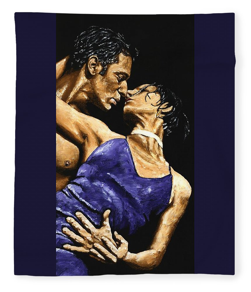 Couple Fleece Blanket featuring the painting Tango Heat by Richard Young