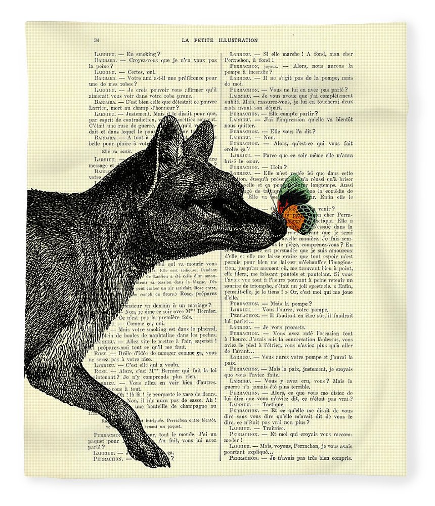 Tasmanian Tiger Fleece Blanket featuring the digital art Tasmanian Tiger And Orange Butterfly Antique Illustration On Dictionary Page by Madame Memento