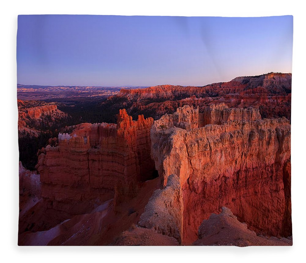 Hoodoo Fleece Blanket featuring the photograph Temple of the setting sun by Mike Dawson