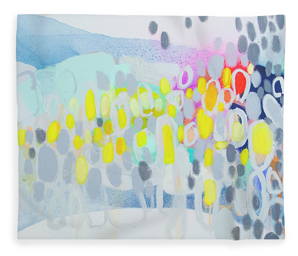 Abstract Fleece Blanket featuring the painting Ten O'clock Flight by Claire Desjardins
