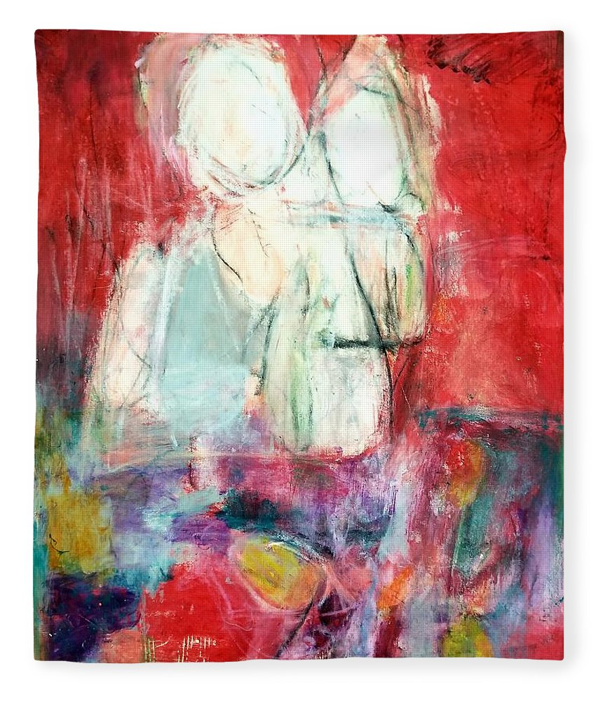 Red Fleece Blanket featuring the painting Tete-a-tete by Patricia Byron