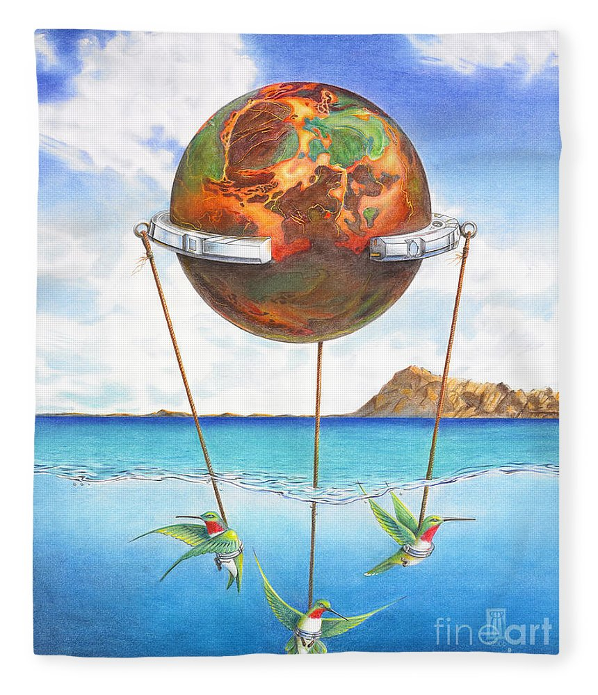 Surreal Fleece Blanket featuring the painting Tethered Sphere by Melissa A Benson