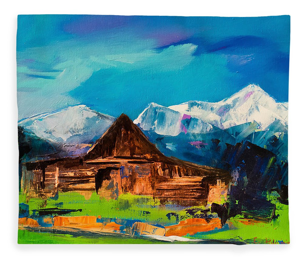 Barn Fleece Blanket featuring the painting Teton Barn by Elise Palmigiani
