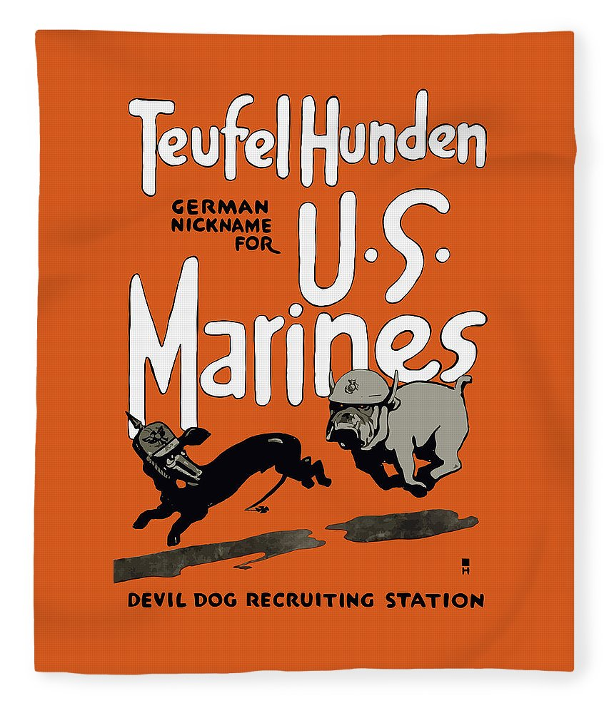 Marine Corps Fleece Blanket featuring the painting Teufel Hunden - German Nickname For US Marines by War Is Hell Store
