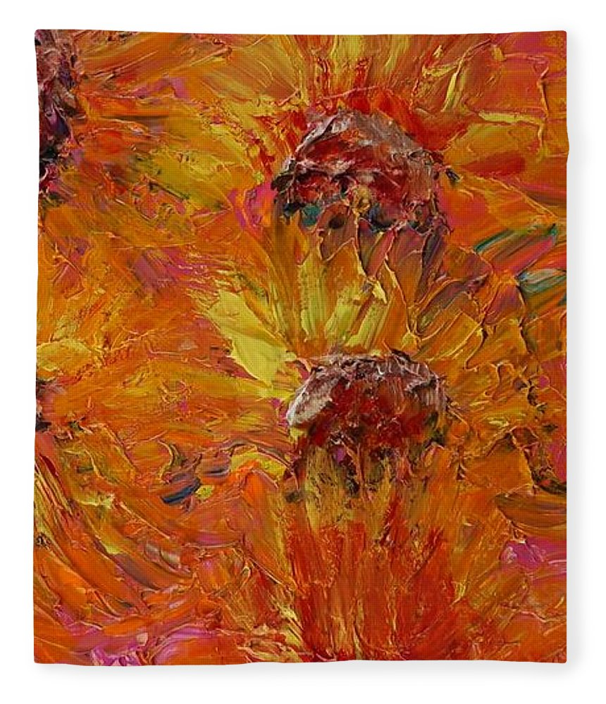 Sunflowers Fleece Blanket featuring the painting Textured Sunflowers by Nadine Rippelmeyer