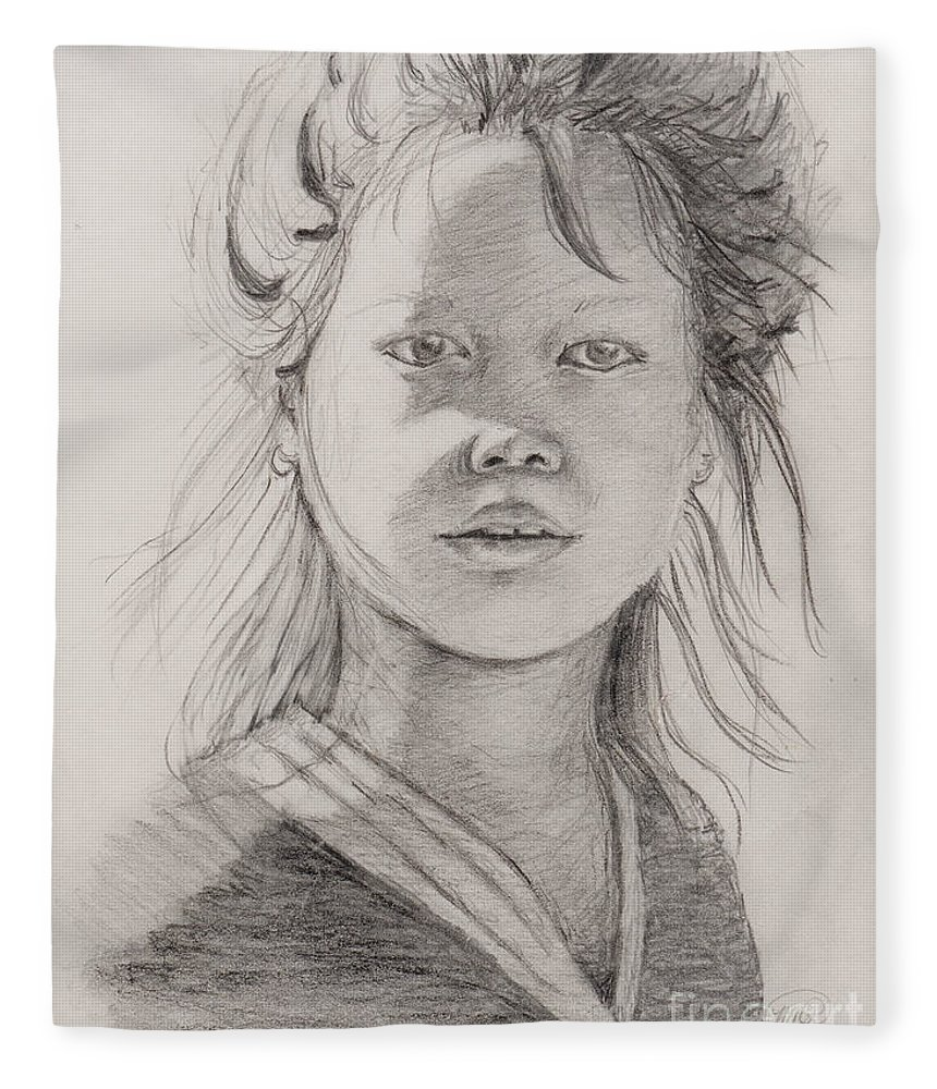 Portrait Fleece Blanket featuring the drawing Thai Beauty by Nadine Rippelmeyer