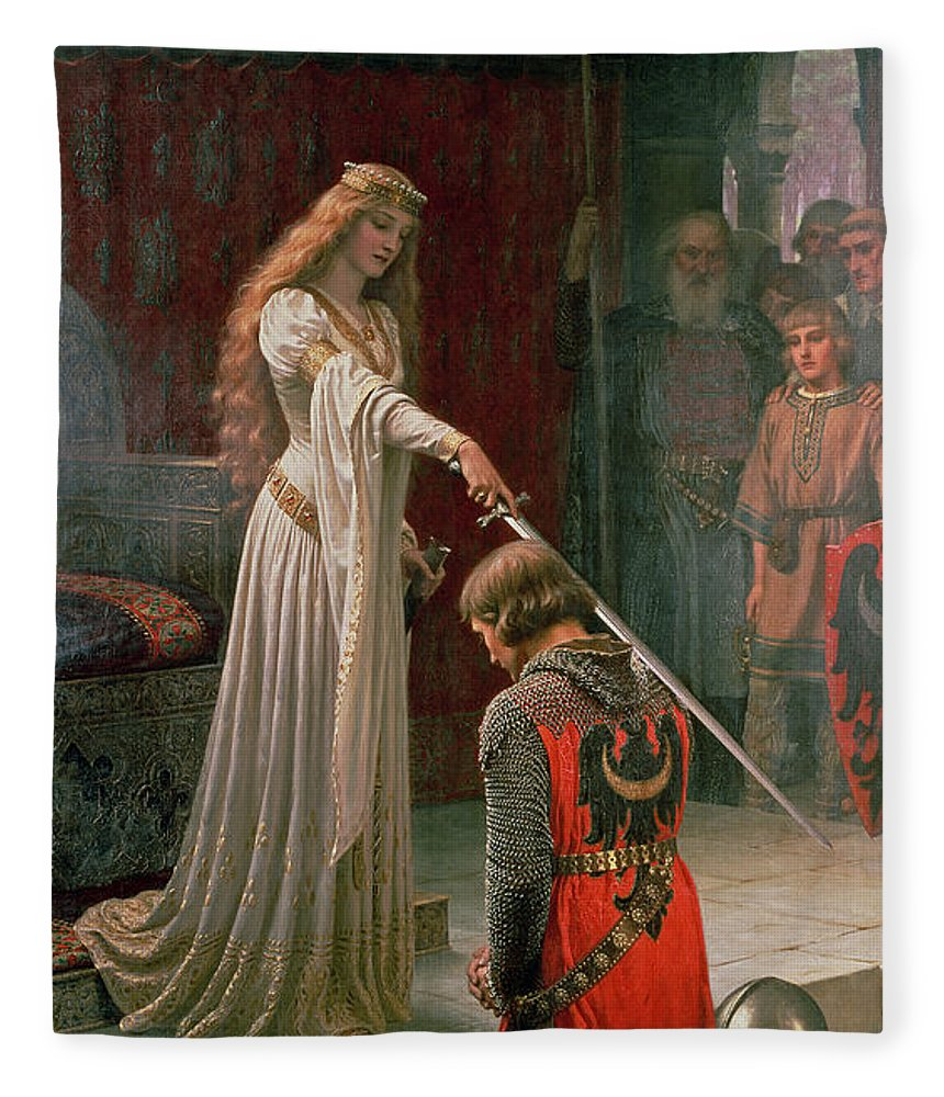 The Fleece Blanket featuring the painting The Accolade by Edmund Blair Leighton