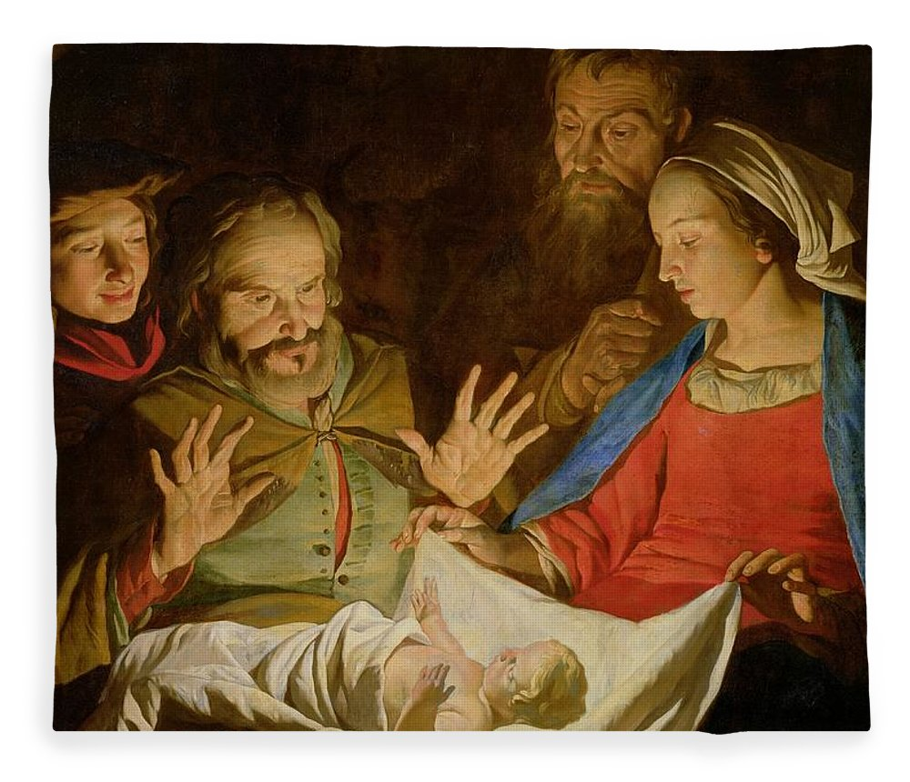 The Adoration Of The Shepherds (oil On Canvas) Fleece Blanket featuring the painting The Adoration Of The Shepherds by Matthias Stomer