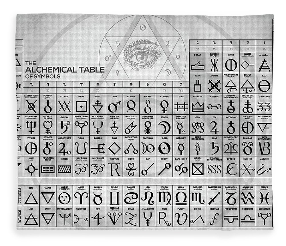 The Alchemical Table Of Symbols Fleece Blanket For Sale By Zapista