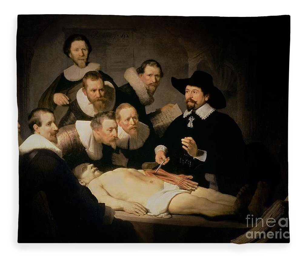 The Anatomy Lesson Of Doctor Nicolaes Tulp Fleece Blanket for Sale ...