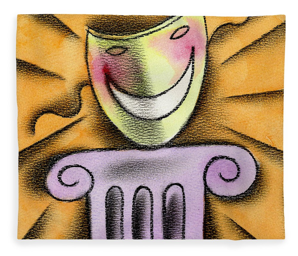 Acting Advertisement Advertising Amusement Bluffing Camouflage Color Colour Column Comedy Concealing Delighted Disguise Displaying Dramatic Eagerness Entertainment Enthusiasm Excitement Exhibiting Funny Graphic Design Happy Hiding Humor Idealism Illustration Mask Melodrama Optimism Orange Performing Performing Arts Pillar Pretending Reading Recreation Smiling Square Theatrical Fleece Blanket featuring the painting The Art Of Smiling by Leon Zernitsky