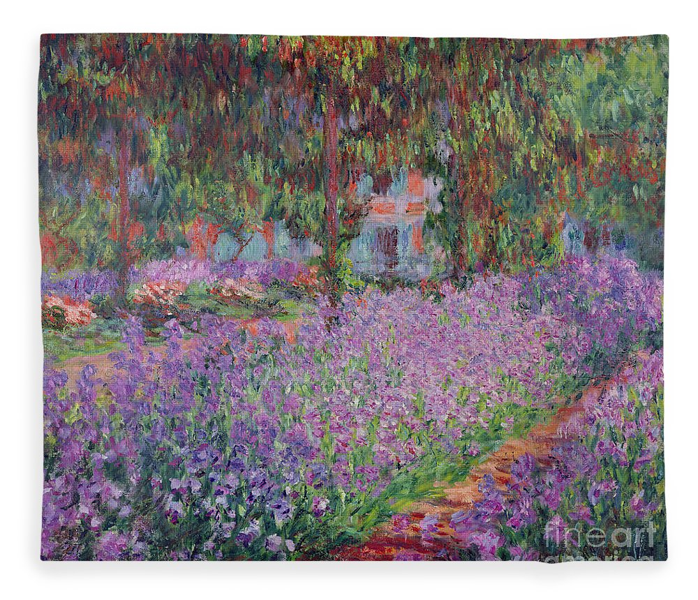 The Fleece Blanket featuring the painting The Artists Garden at Giverny by Claude Monet