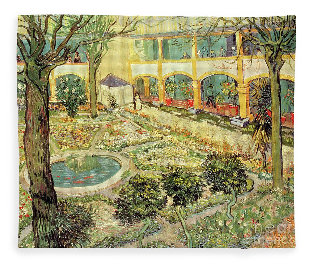 Vincent Van Gogh Fleece Blanket Featuring The Painting The Asylum Garden At  Arles By Vincent Van