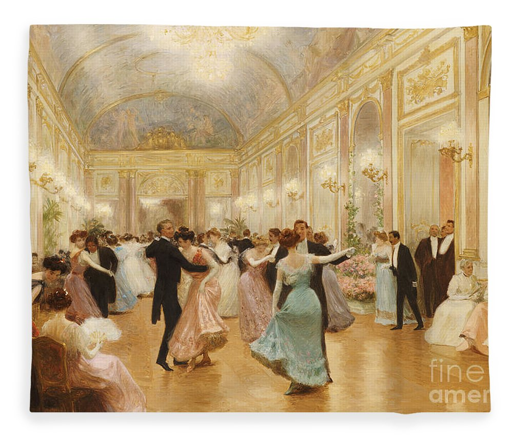Ball Fleece Blanket featuring the painting The Ball by Victor Gabriel Gilbert