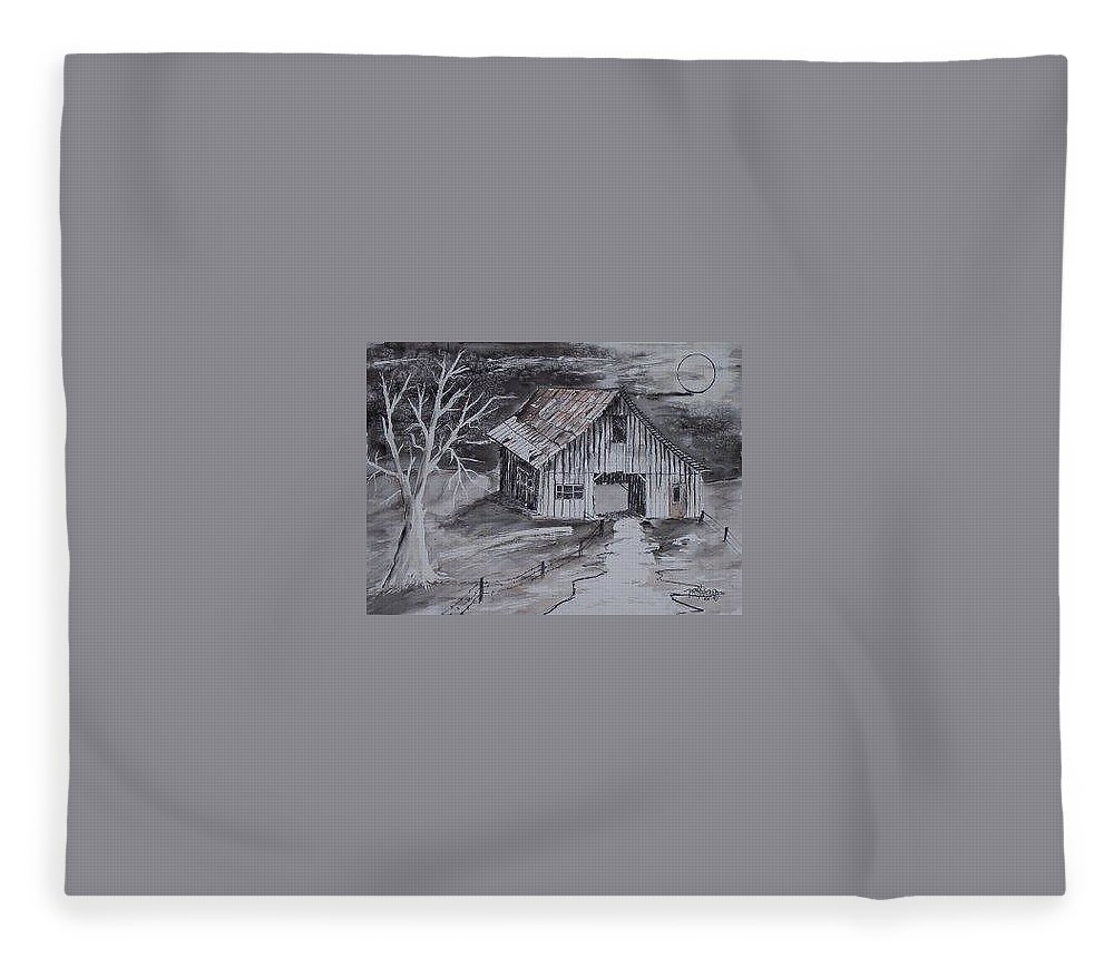 Watercolor Landscape Painting Barn Pen And Ink Painting Drawing Fleece Blanket featuring the painting THE BARN country pen and ink drawing by Derek Mccrea