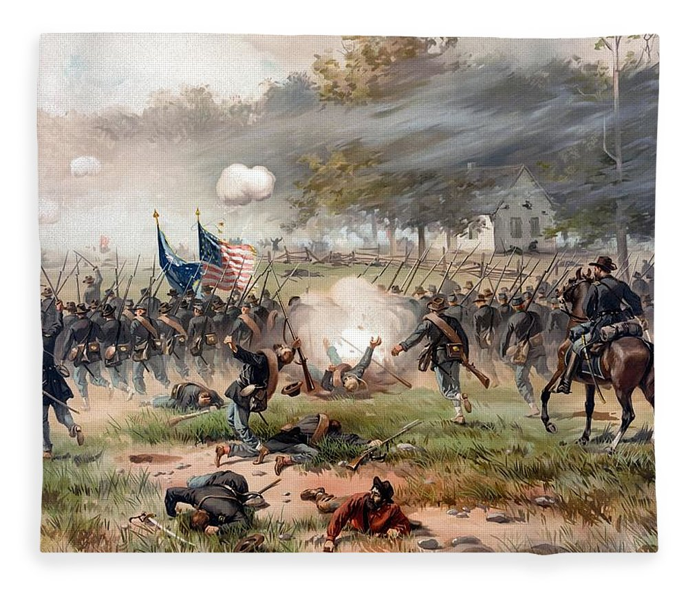 Civil War Fleece Blanket featuring the painting The Battle Of Antietam by War Is Hell Store