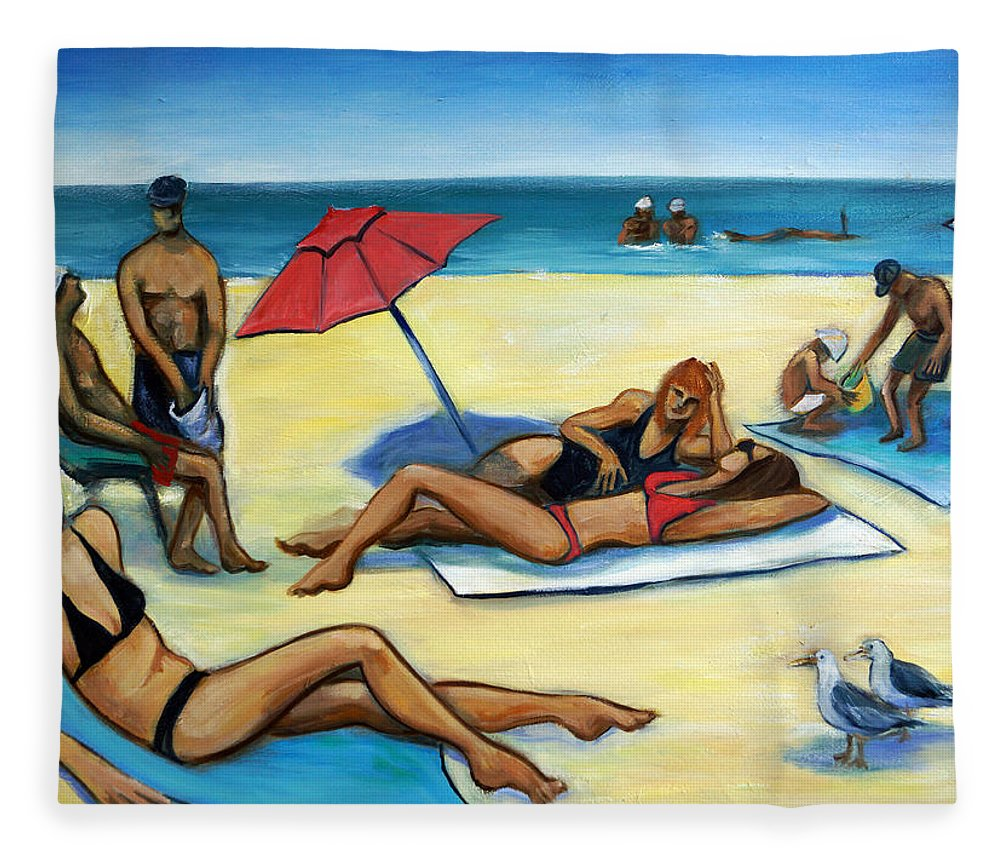 Beach Scene Fleece Blanket featuring the painting The Beach by Valerie Vescovi