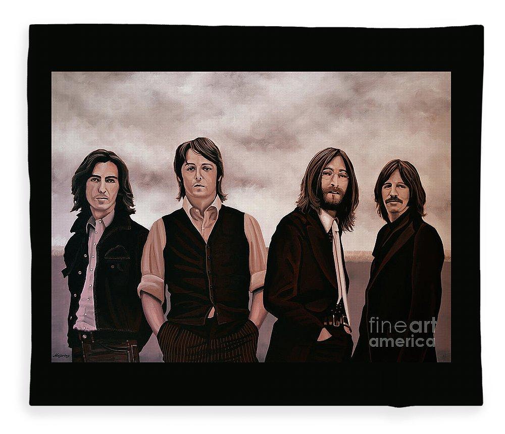 The Beatles Fleece Blanket featuring the painting The Beatles 3 by Paul Meijering