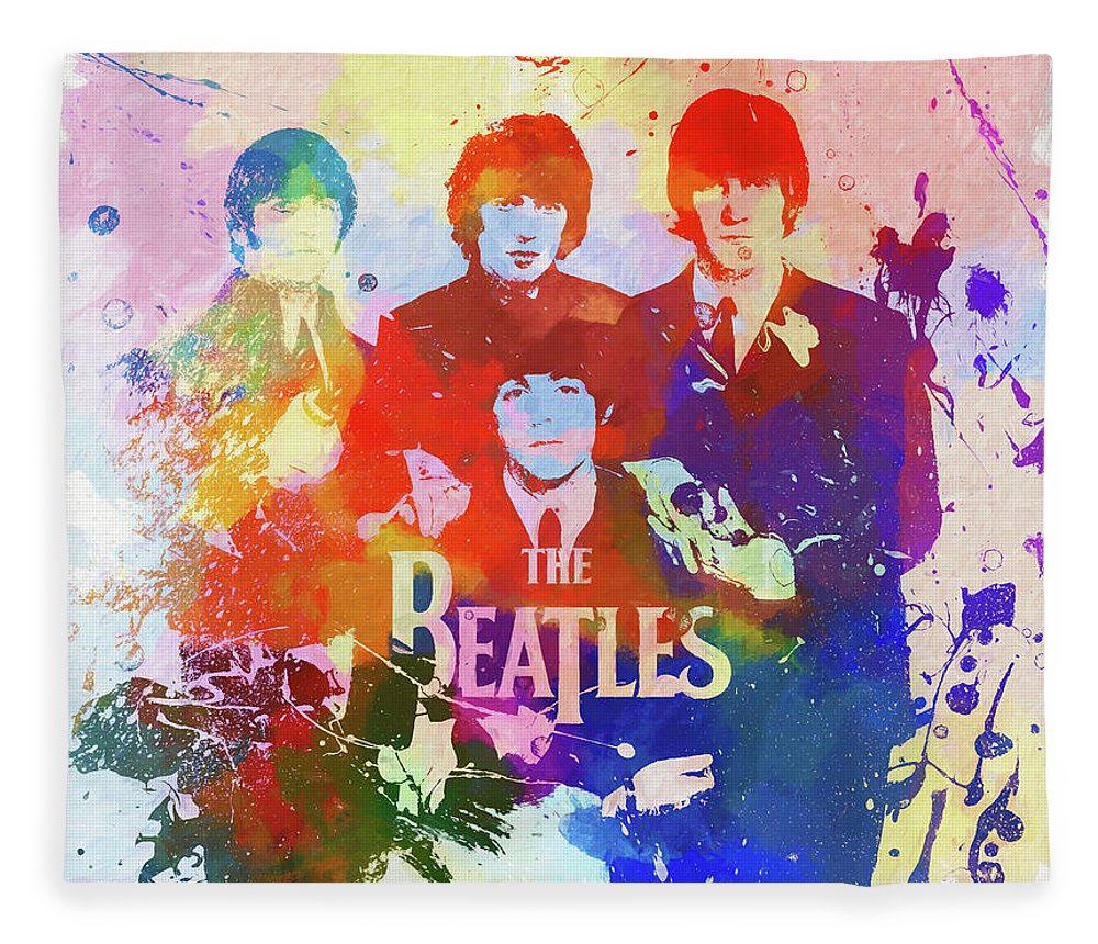 The Beatles Watercolor Fleece Blanket featuring the painting The Beatles Paint Splatter by Dan Sproul