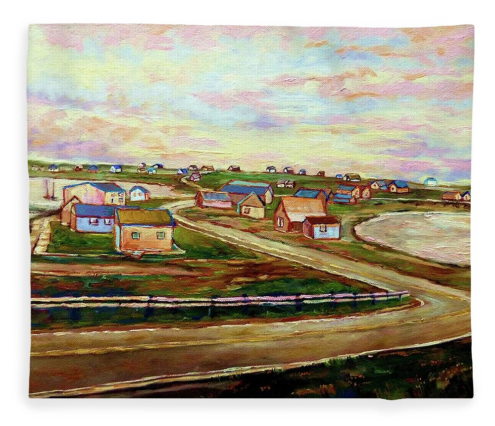 The Beautiful Skies Of Prince Edward Island Fleece Blanket featuring the painting The Beautiful Skies Of Prince Edward Island by Carole Spandau