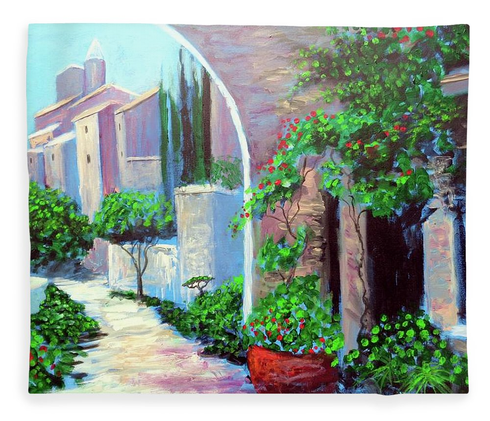 .italy Mediterranean Art Tuscany Fleece Blanket featuring the painting The Beautiful Way by Larry Cirigliano